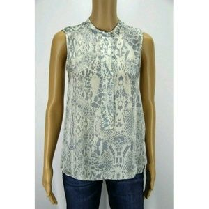 Joe Fresh Women Top Blouse White Gray Animal Print